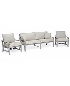 Tara Aluminum Outdoor 3-Pc. Seating Set (1 Sofa & 2 Inside Rocker Chairs), Created for Macy's