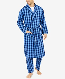 Men's Buffalo Plaid Shawl-Collar Cotton Robe