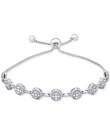 Diamond Cluster Bolo Bracelet (1 ct. t.w.) in 14k White Gold