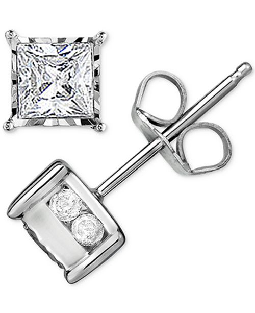 TruMiracle Diamond Stud Earrings (1/2 ct. t.w.) in 14k White Gold