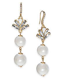 I.N.C. Gold-Tone Multi-Stone & Imitation Pearl Drop Earrings, Created for Macy's