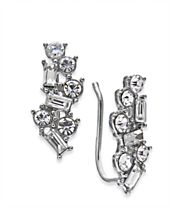 I.N.C. Silver-Tone Crystal Ear Climbers, Created for Macy's
