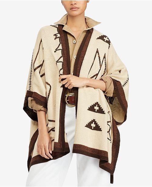 Granjero ganso Tipo delantero  Polo Ralph Lauren Southwestern Open-Front Cardigan & Reviews - Sweaters -  Women - Macy's