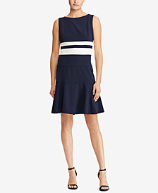 Lauren Ralph Lauren Striped Fit & Flare Dress, Regular & Petite Sizes