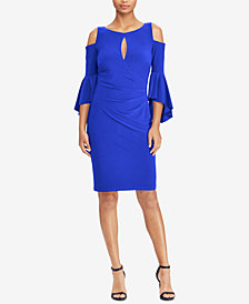 Lauren Ralph Lauren Cold-Shoulder Keyhole Dress