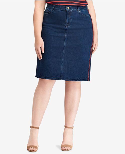 d3260697bb9c8 Lauren Ralph Lauren Plus Size Denim Skirt - Skirts - Plus Sizes - Macy s