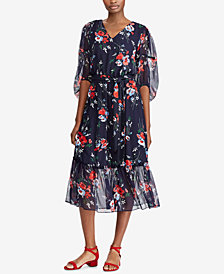 Lauren Ralph Lauren Petite Floral-Print Midi Dress