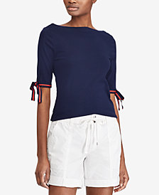 Lauren Ralph Lauren Tie-Sleeve Top