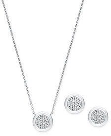 "2-Pc. Set (1/2 ct. t.w.) Diamond Cluster 18"" Pendant Necklace & Drop Earrings in Sterling Silver"