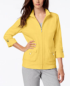 Karen Scott Cotton D-Ring Zipper Jacket, Created for Macy's