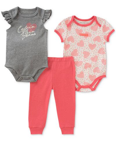 Calvin Klein 3-Pc. Printed Cotton Bodysuits & Pants Set, Baby Girls