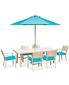 "Beach House 7-Pc. Dining Set (84"" x 42"" Dining Table and 6 Dining Chairs), with Sunbrella® Cushions, Created for Macy's"