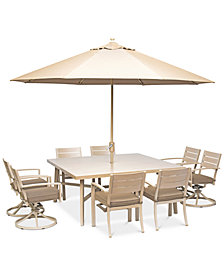 """Beach House Outdoor 9-Pc. Dining Set (68"""" Square Table, 4 Dining Chairs and 4 Swivel Rockers)with Sunbrella® Cushions, Created for Macy'"""