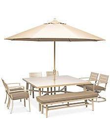 "Beach House Outdoor 8-Pc. Dining Set (68"" Square Dining Table, 4 Dining Chairs, 2 Swivel Rockers and 1 Dining Bench), with Sunbrella® Cushions, Created for Macy's"