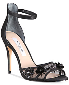 Nina Clarity Mesh-Panel Ankle-Strap Evening Sandals