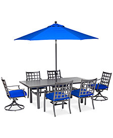 "CLOSEOUT! Highland Blue Aluminum Outdoor 7-Pc. Dining Set (84"" x 42"" Dining Table, 4 Dining Chairs and 2 Swivel Rockers) with Sunbrella® Cushions, Created for Macy's"