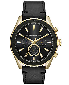 A|X Armani Exchange Men's Chronograph Black Leather Strap Watch 46mm