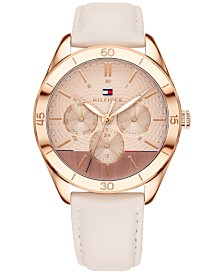 Tommy Hilfiger Women's Blush Leather Strap Watch 40mm, Created for Macy's