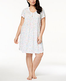 Miss Elaine Plus Size Floral-Print Ruffle-Trim Nightgown