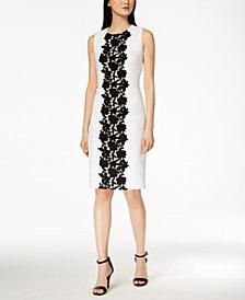 Calvin Klein Contrast Lace-Trim Scuba Dress