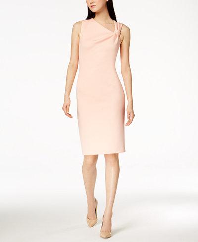 Calvin Klein Asymmetrical Knotted Sheath Dress