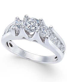 Diamond Channel-Set Engagement Ring (1-1/2 ct. t.w.) in 14k White Gold