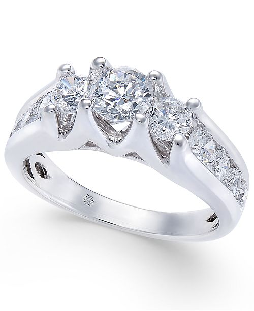 Macy's Diamond Channel-Set Engagement Ring (1-1/2 ct. t.w.) in 14k White Gold