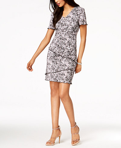 Connected Petite Printed Tiered Dress