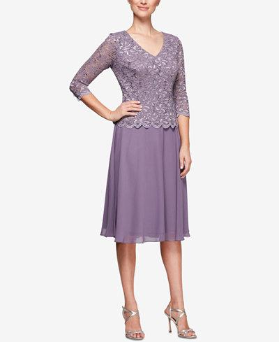 Alex Evenings Petite Sequined Lace & Chiffon Dress