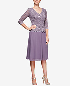 Alex Evenings Sequined Lace & Chiffon Dress