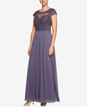 Alex Evenings Embroidered Mesh Gown 5612783