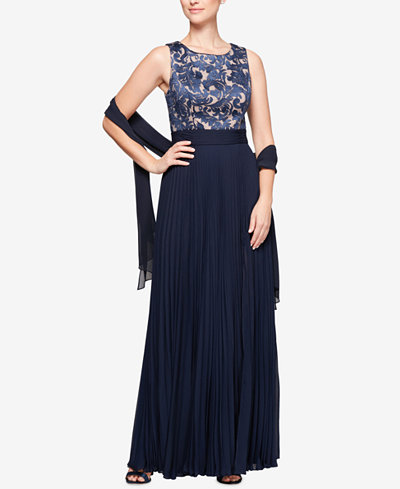 Alex Evenings Embroidered & Pleated Gown with Shawl