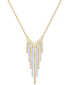 "Swarovski Two-Tone Crystal Fringe 17-3/4"" Statement Necklace"