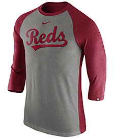 Nike Men's Cincinnati Reds Tri-Blend Three-Quarter Raglan T-shirt