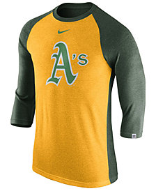Nike Men's Oakland Athletics Tri-Blend Three-Quarter Raglan T-shirt