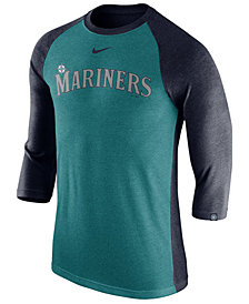 Nike Men's Seattle Mariners Tri-Blend Three-Quarter Raglan T-shirt