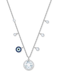 "Swarovski Silver-Tone Crystal & Pavé Dangle 14-7/8"" Pendant Necklace"