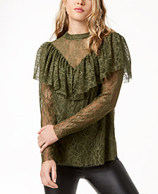kensie Ruffled Lace Top