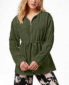 kensie Ruched-Sleeve Anorak Jacket