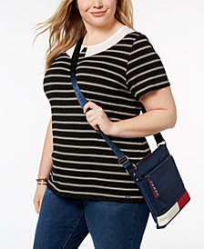 Tommy Hilfiger Plus Size Inset-Collar Striped Top, Created for Macy's