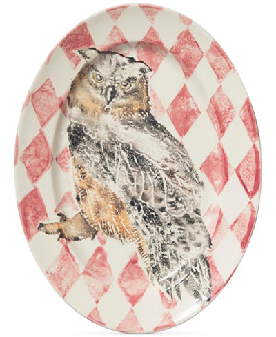 Vietri Into the Woods Collection Owl Oval Platter