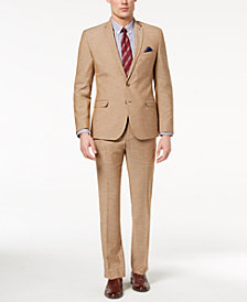 Nick Graham Men's Slim-Fit Stretch Tan Textured Suit