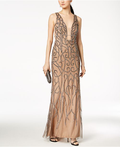 Plunge Chainmail Adrianna Nude Papell Lead Gown Beaded F84x6Owtq