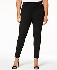 Calvin Klein Plus Size Ponté-Knit Pull-On Pants