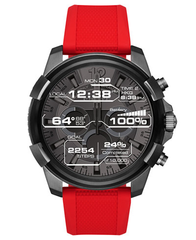 Diesel On Men's Full Guard Red Silicone Strap Touchscreen Smart Watch 48mm