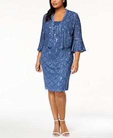 Alex Evenings Plus Size Sequined Lace Dress & Jacket