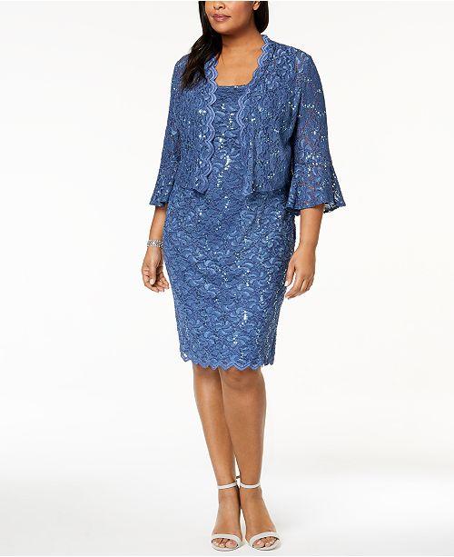 a85c64bf5d3 Alex Evenings Plus Size Sequined Lace Dress   Jacket   Reviews ...