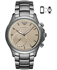 Men's Connected Gray Stainless Steel Bracelet Hybrid Smart Watch 43mm