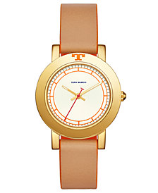 Tory Burch Women's Ellsworth Beige Leather Strap Watch 36mm