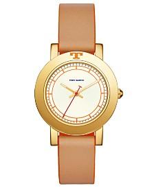 Tory Burch Women's Ellsworth Beige Leather Strap Watch 36mm